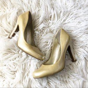 Jessica Simpson Gold Patent Leather Heels 8.5